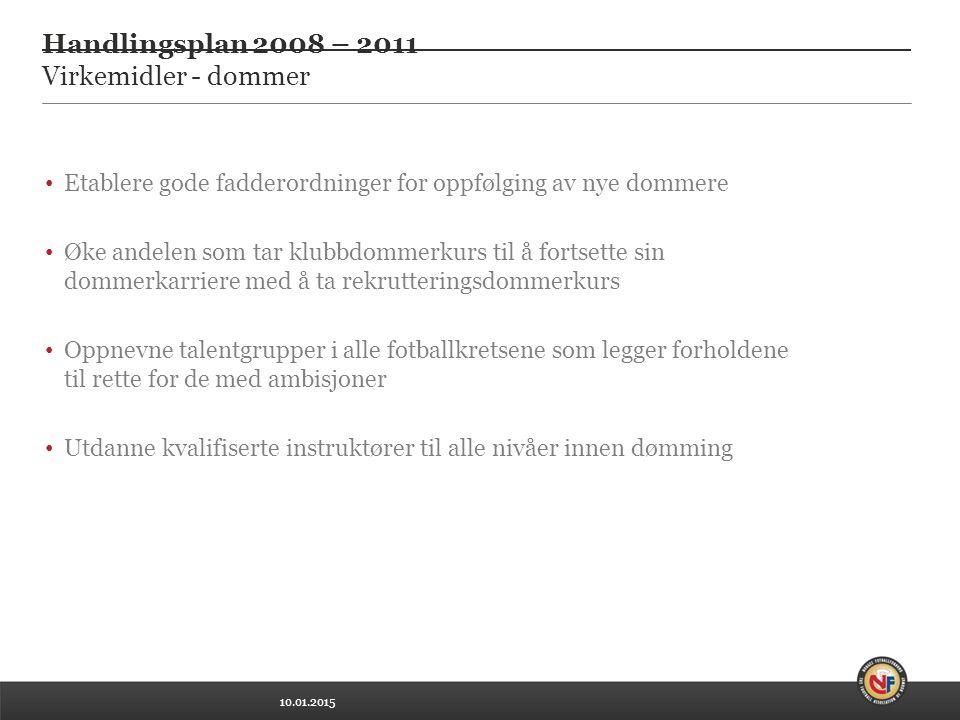 10.01.2015 Handlingsplan 2008 – 2011 Virkemidler - dommer Etablere gode fadderordninger for oppfølging av nye dommere Øke andelen som tar klubbdommerk
