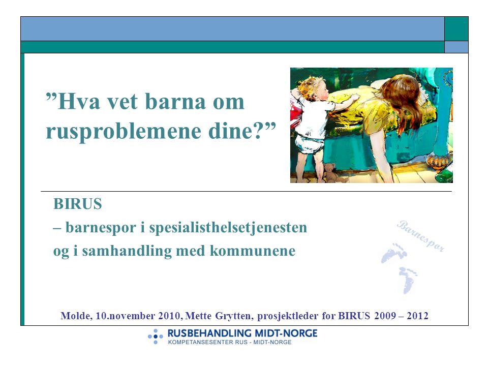 """BIRUS – barnespor i spesialisthelsetjenesten og i samhandling med kommunene Barnespor """"Hva vet barna om rusproblemene dine?"""" Molde, 10.november 2010,"""