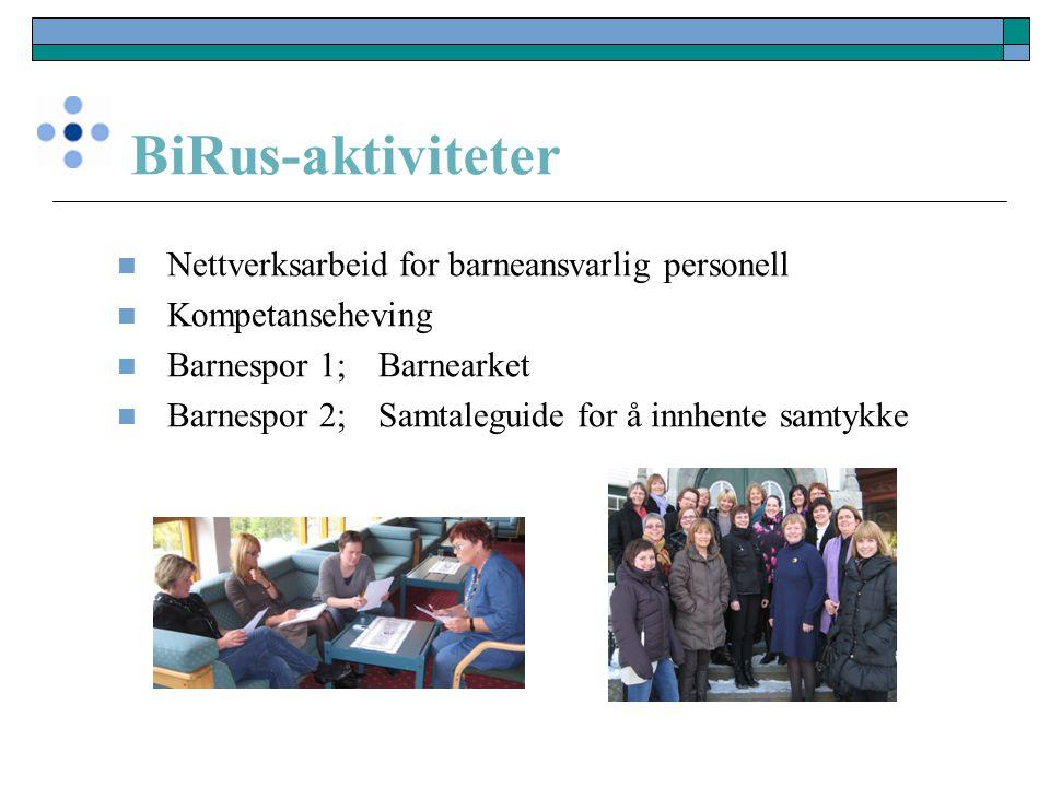 BiRus-aktiviteter Nettverksarbeid for barneansvarlig personell Kompetanseheving Barnespor 1; Barnearket Barnespor 2; Samtaleguide for å innhente samty