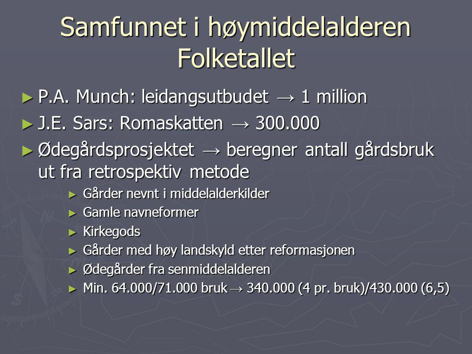 Samfunnet i høymiddelalderen Folketallet ► P.A. Munch: leidangsutbudet → 1 million ► J.E. Sars: Romaskatten → 300.000 ► Ødegårdsprosjektet → beregner