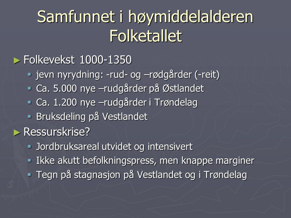Samfunnet i høymiddelalderen Folketallet ► Folkevekst 1000-1350  jevn nyrydning: -rud- og –rødgårder (-reit)  Ca. 5.000 nye –rudgårder på Østlandet