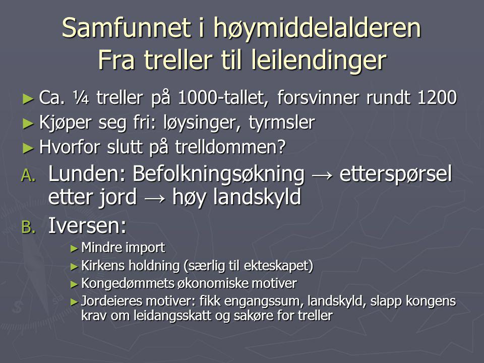 Samfunnet i høymiddelalderen Fra treller til leilendinger ► Ca. ¼ treller på 1000-tallet, forsvinner rundt 1200 ► Kjøper seg fri: løysinger, tyrmsler