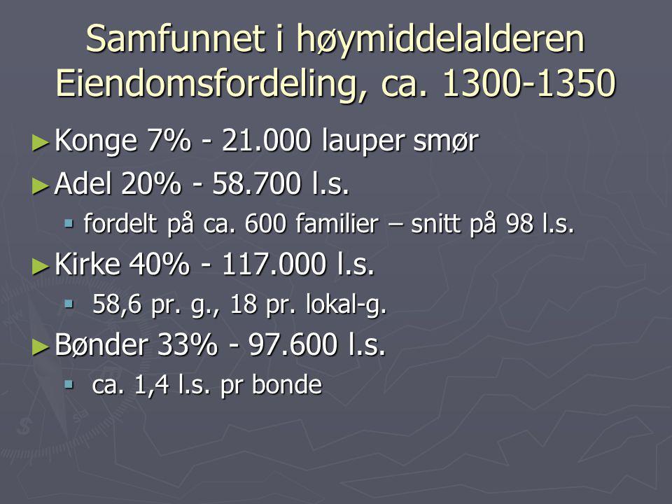 Samfunnet i høymiddelalderen Eiendomsfordeling, ca. 1300-1350 ► Konge 7% - 21.000 lauper smør ► Adel 20% - 58.700 l.s.  fordelt på ca. 600 familier –