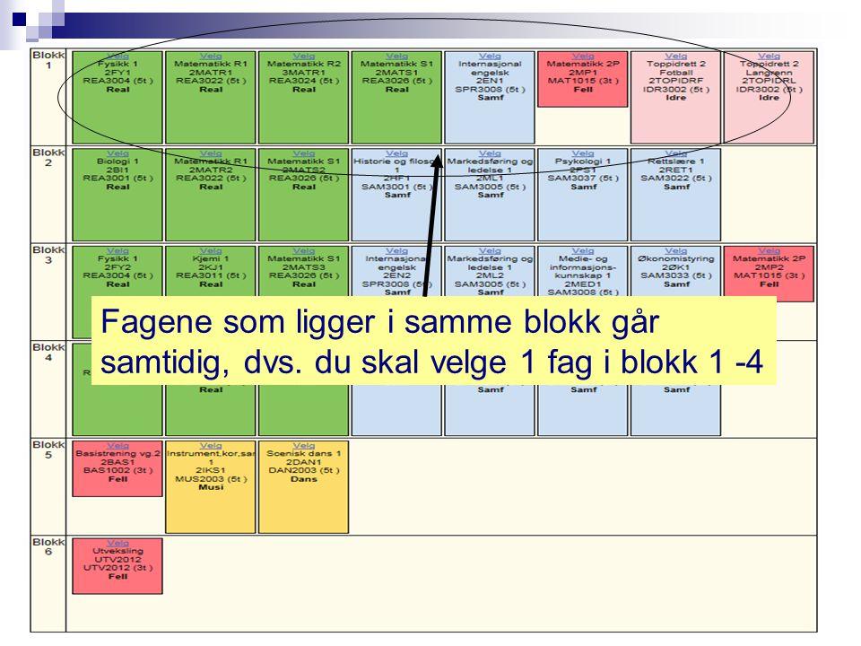 Fagene som ligger i samme blokk går samtidig, dvs. du skal velge 1 fag i blokk 1 -4