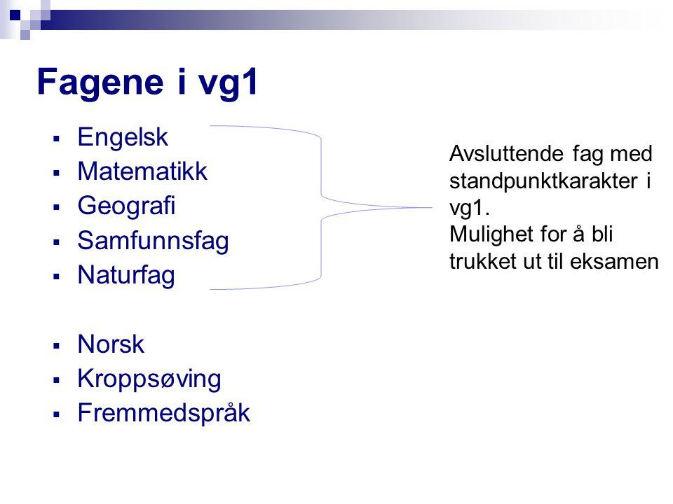 Fellesfag Vg2 15 timer  Matematikk  Fremmedspråk  Norsk  Historie  Kroppsøving Avsluttende fag med standpunktkarakter i vg2.
