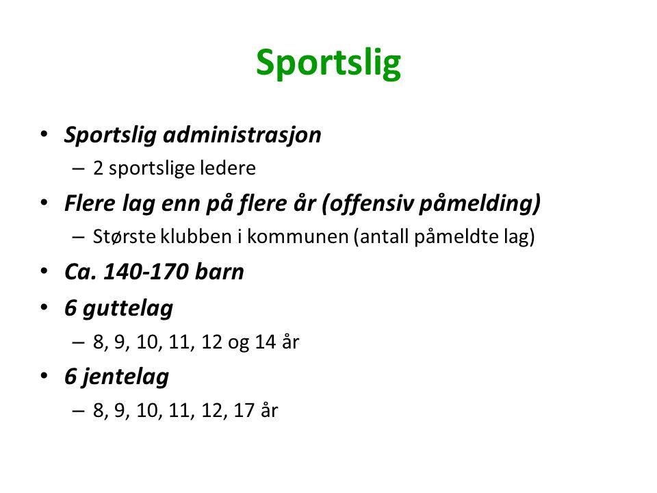 Sportslig Sportslig administrasjon – 2 sportslige ledere Flere lag enn på flere år (offensiv påmelding) – Største klubben i kommunen (antall påmeldte lag) Ca.