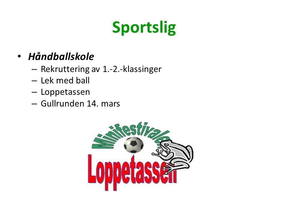Sportslig Håndballskole – Rekruttering av 1.-2.-klassinger – Lek med ball – Loppetassen – Gullrunden 14.