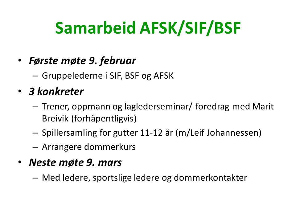 Samarbeid AFSK/SIF/BSF Første møte 9. februar – Gruppelederne i SIF, BSF og AFSK 3 konkreter – Trener, oppmann og laglederseminar/-foredrag med Marit