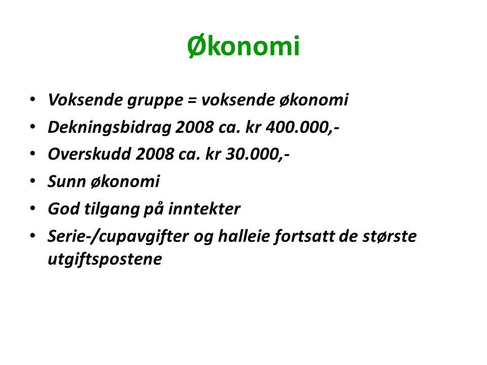 Økonomi Voksende gruppe = voksende økonomi Dekningsbidrag 2008 ca.