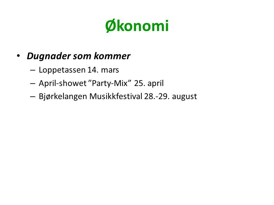 "Økonomi Dugnader som kommer – Loppetassen 14. mars – April-showet ""Party-Mix"" 25. april – Bjørkelangen Musikkfestival 28.-29. august"