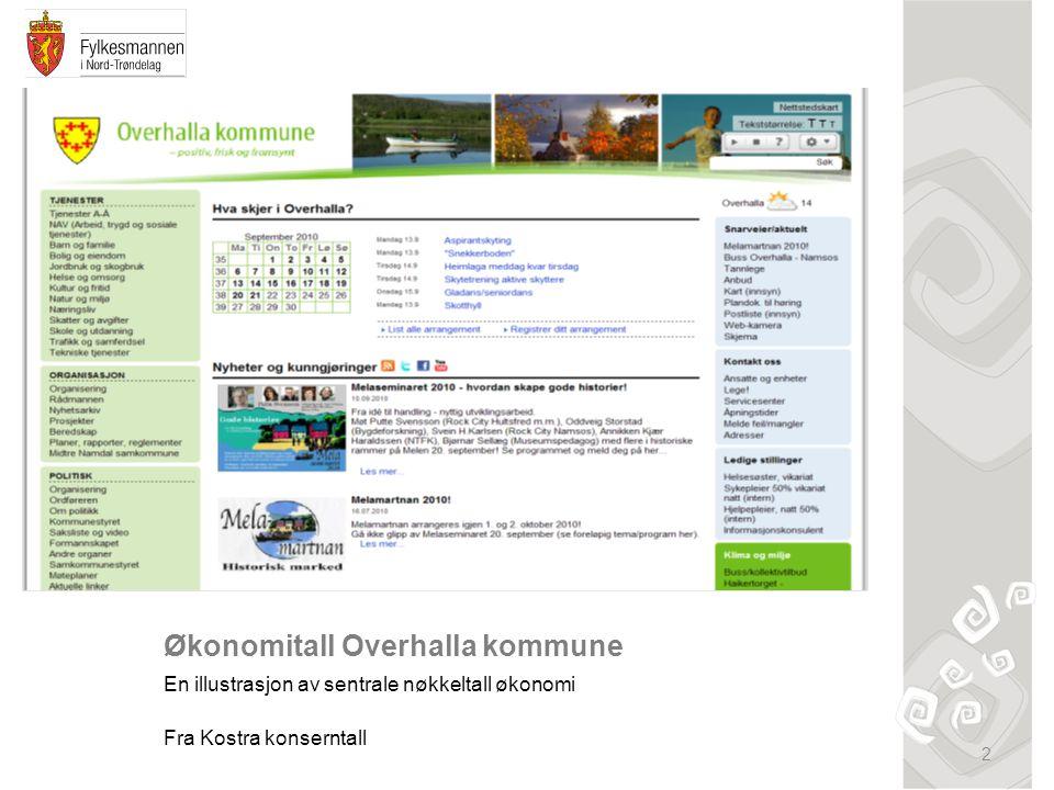 Økonomitall Overhalla kommune En illustrasjon av sentrale nøkkeltall økonomi Fra Kostra konserntall 2