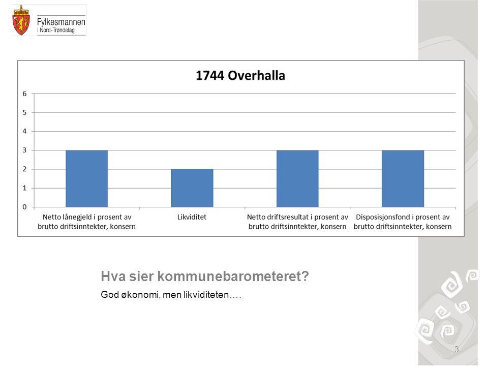 Hva sier kommunebarometeret? God økonomi, men likviditeten…. 3