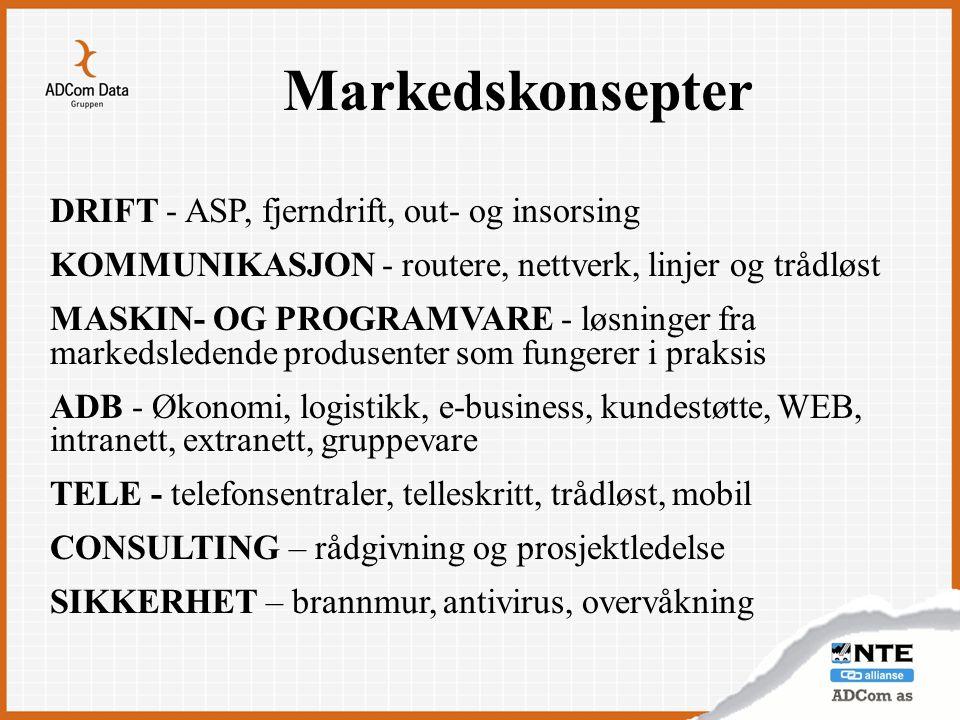 Markedskonsepter DRIFT - ASP, fjerndrift, out- og insorsing KOMMUNIKASJON - routere, nettverk, linjer og trådløst MASKIN- OG PROGRAMVARE - løsninger f