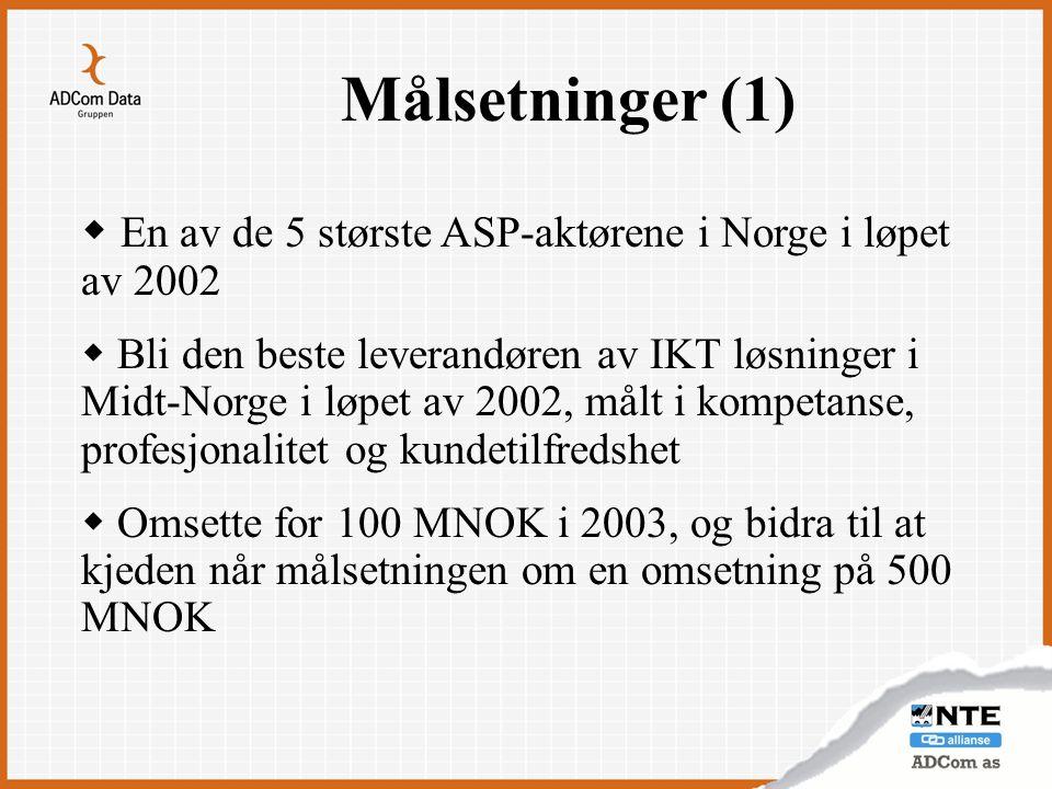 Målsetninger (1)  En av de 5 største ASP-aktørene i Norge i løpet av 2002  Bli den beste leverandøren av IKT løsninger i Midt-Norge i løpet av 2002,
