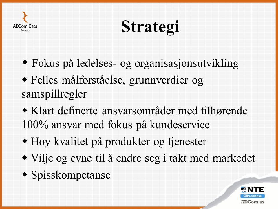 Strategi  Fokus på ledelses- og organisasjonsutvikling  Felles målforståelse, grunnverdier og samspillregler  Klart definerte ansvarsområder med ti