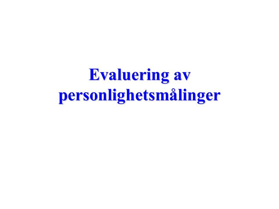 Evaluering av personlighetsmålinger