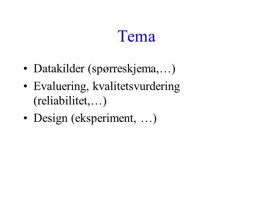 Tema Datakilder (spørreskjema,…) Evaluering, kvalitetsvurdering (reliabilitet,…) Design (eksperiment, …)