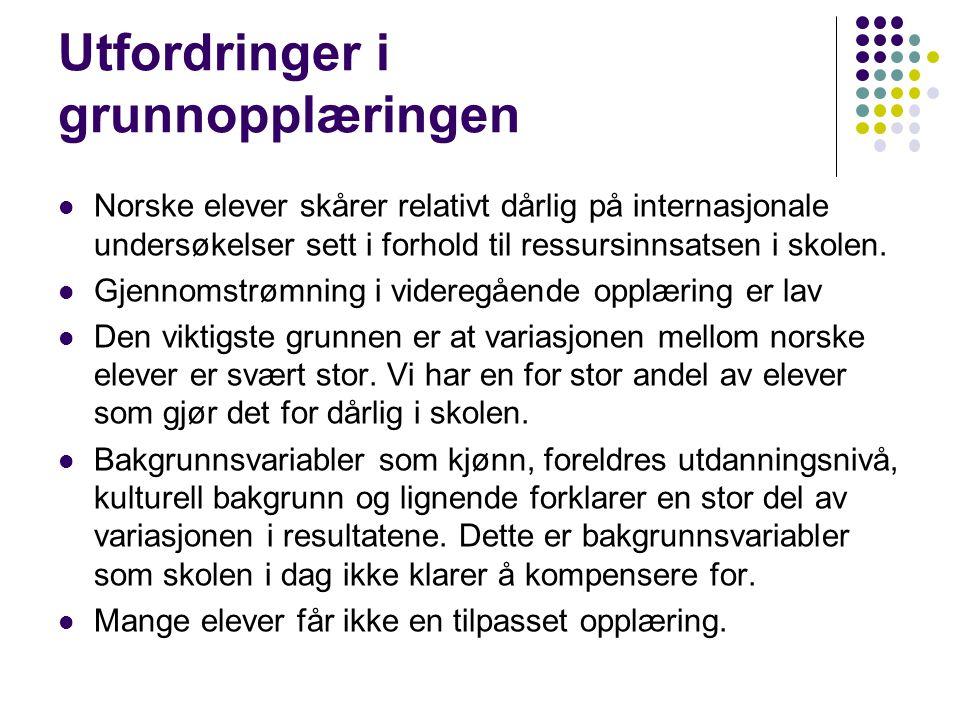 Utfordringer i grunnopplæringen Norske elever skårer relativt dårlig på internasjonale undersøkelser sett i forhold til ressursinnsatsen i skolen. Gje