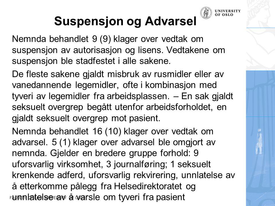 FACULTY OF LAW, UNIVERSITY OF OSLO Suspensjon og Advarsel Nemnda behandlet 9 (9) klager over vedtak om suspensjon av autorisasjon og lisens. Vedtakene