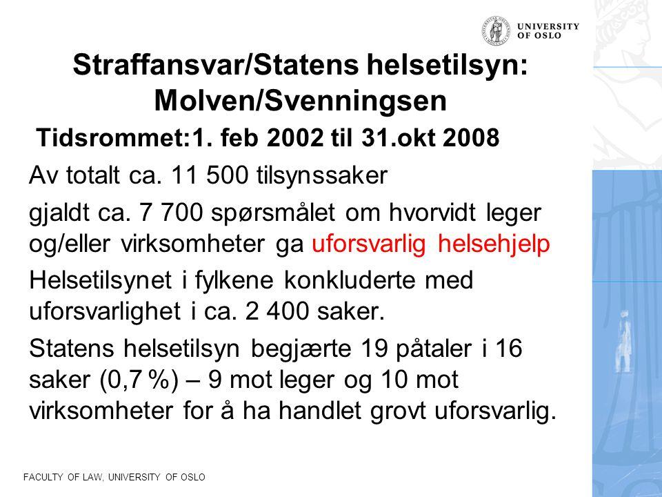FACULTY OF LAW, UNIVERSITY OF OSLO Straffansvar/Statens helsetilsyn: Molven/Svenningsen Tidsrommet:1. feb 2002 til 31.okt 2008 Av totalt ca. 11 500 ti