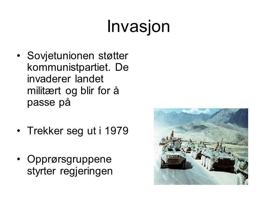 Invasjon Sovjetunionen støtter kommunistpartiet.