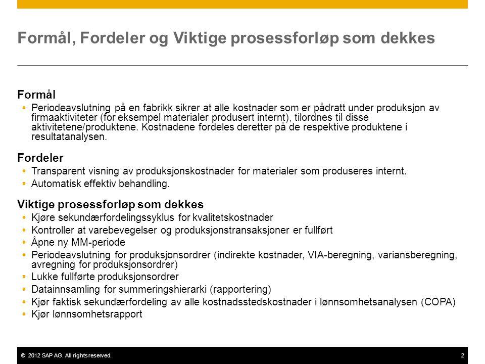 ©2012 SAP AG. All rights reserved.2 Formål, Fordeler og Viktige prosessforløp som dekkes Formål  Periodeavslutning på en fabrikk sikrer at alle kostn