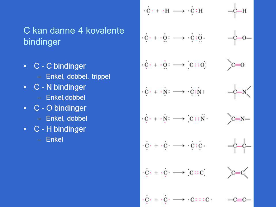 C kan danne 4 kovalente bindinger C - C bindinger –Enkel, dobbel, trippel C - N bindinger –Enkel,dobbel C - O bindinger –Enkel, dobbel C - H bindinger –Enkel