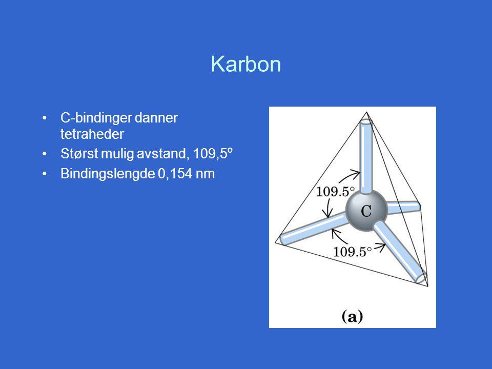 Karbon C-bindinger danner tetraheder Størst mulig avstand, 109,5 o Bindingslengde 0,154 nm