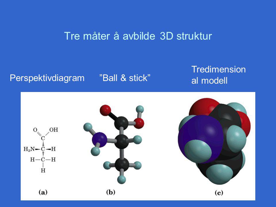 Tre måter å avbilde 3D struktur Perspektivdiagram Ball & stick Tredimension al modell