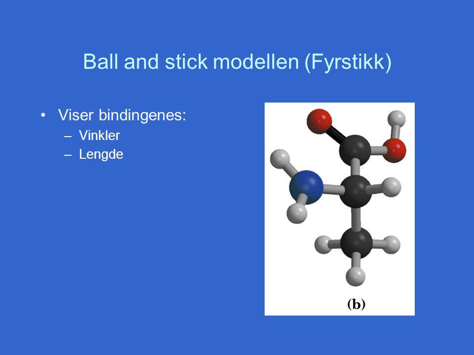 Ball and stick modellen (Fyrstikk) Viser bindingenes: –Vinkler –Lengde