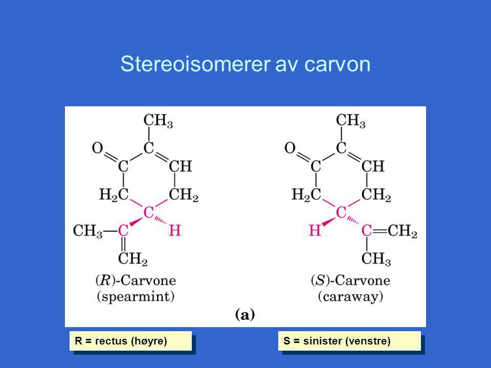 Stereoisomerer av carvon R = rectus (høyre) S = sinister (venstre)