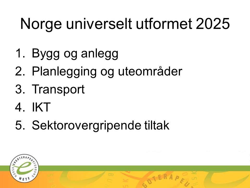 Norge universelt utformet 2025 1.Bygg og anlegg 2.Planlegging og uteområder 3.Transport 4.IKT 5.Sektorovergripende tiltak