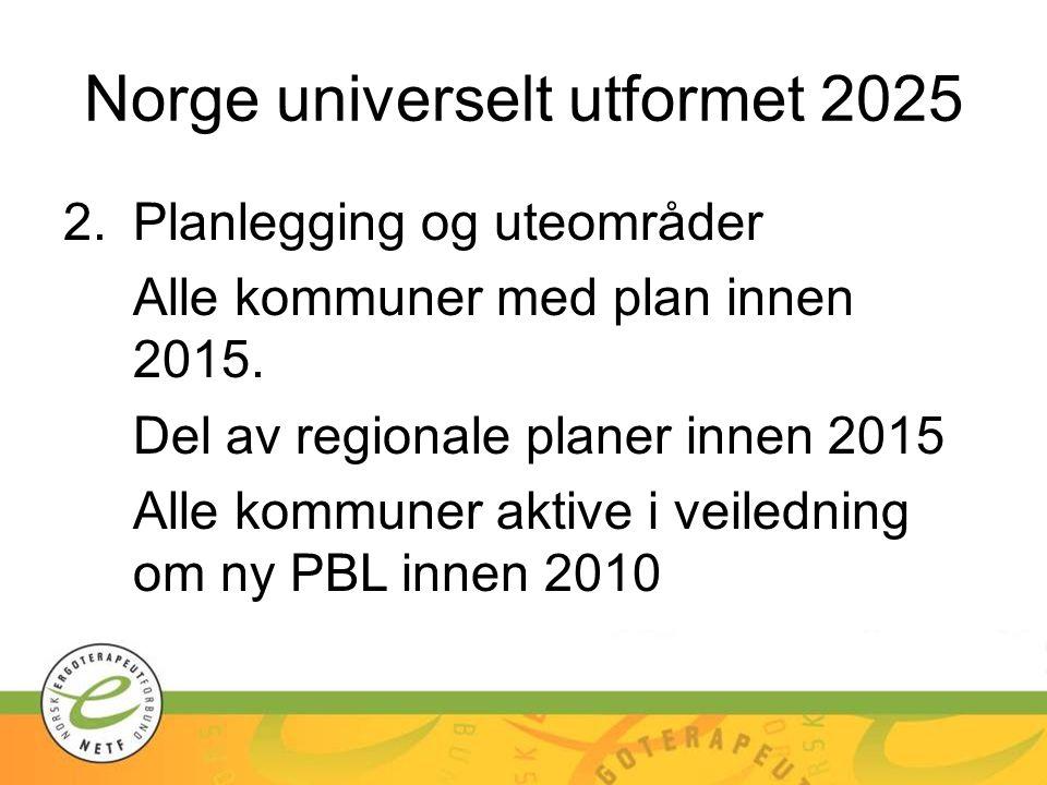 Norge universelt utformet 2025 2.Planlegging og uteområder Alle kommuner med plan innen 2015. Del av regionale planer innen 2015 Alle kommuner aktive