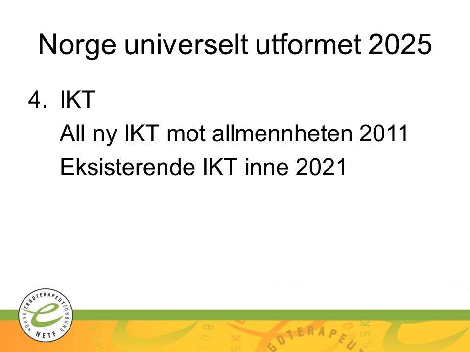 Norge universelt utformet 2025 4.IKT All ny IKT mot allmennheten 2011 Eksisterende IKT inne 2021