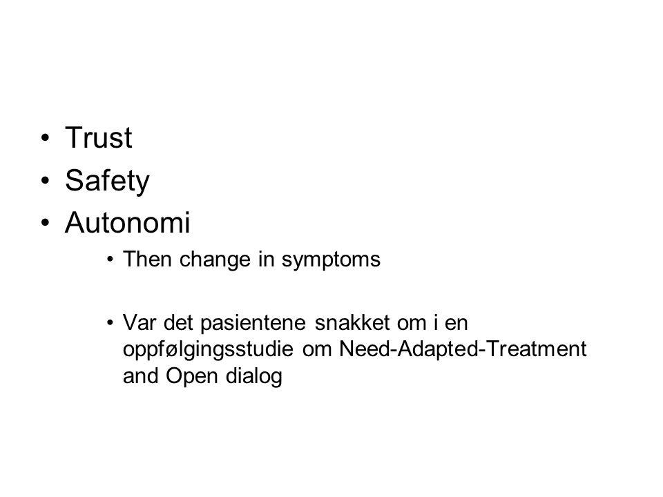 Trust Safety Autonomi Then change in symptoms Var det pasientene snakket om i en oppfølgingsstudie om Need-Adapted-Treatment and Open dialog