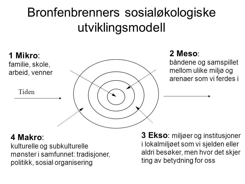 Bronfenbrenners sosialøkologiske utviklingsmodell 1 Mikro: familie, skole, arbeid, venner 2 Meso : båndene og samspillet mellom ulike miljø og arenaer