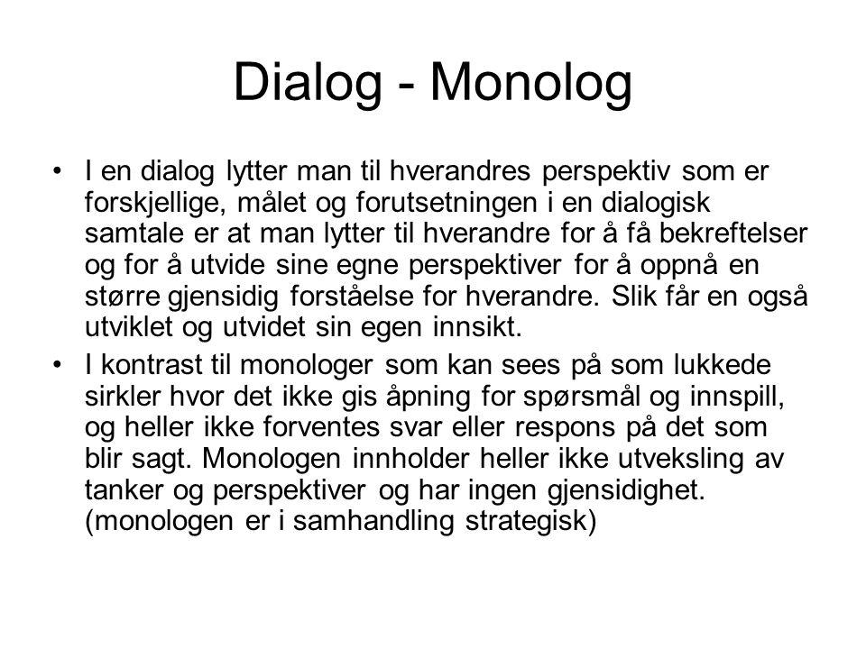 Dialog - Monolog I en dialog lytter man til hverandres perspektiv som er forskjellige, målet og forutsetningen i en dialogisk samtale er at man lytter