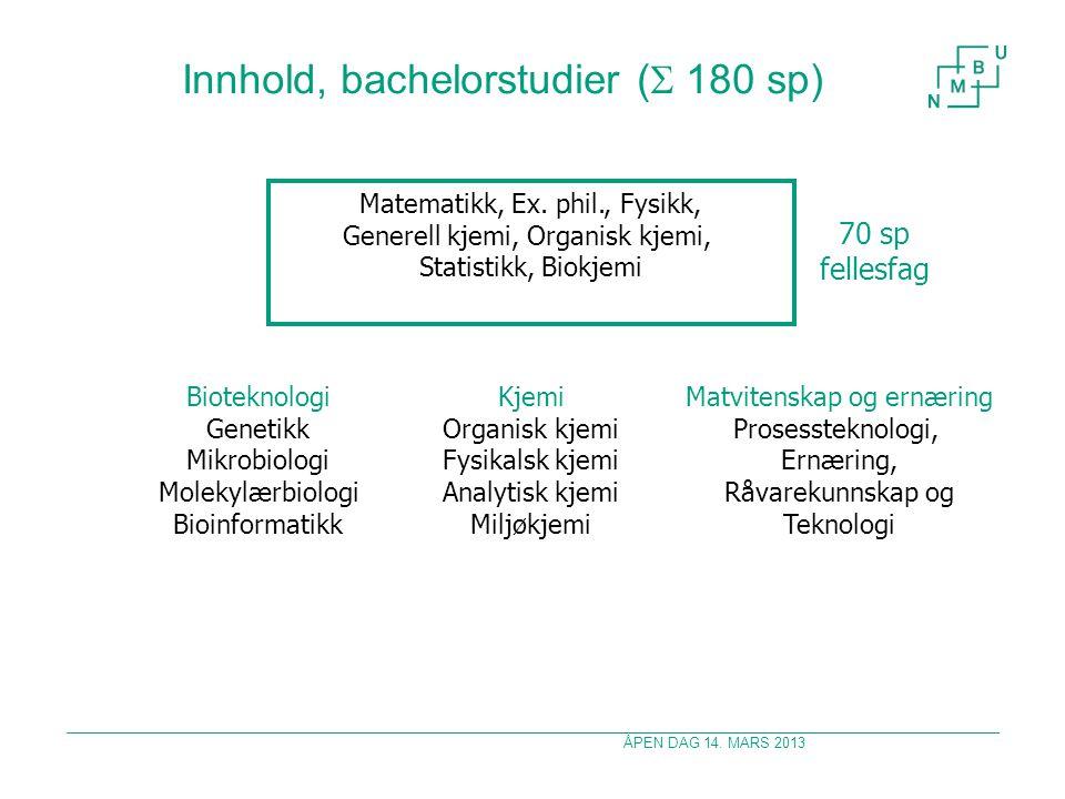ÅPEN DAG 14. MARS 2013 Innhold, bachelorstudier (  180 sp) Matematikk, Ex.