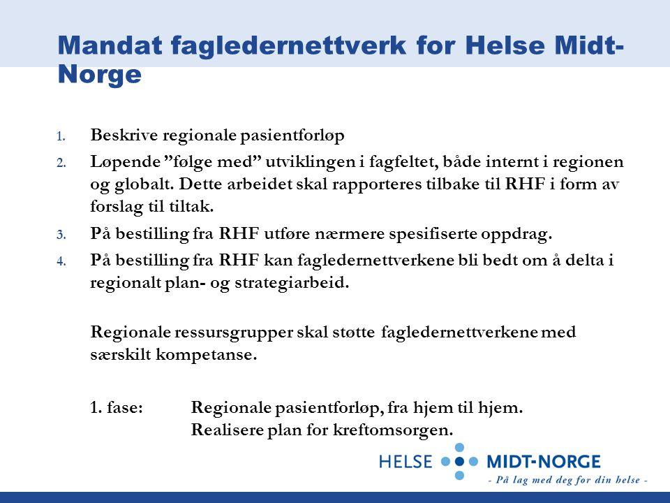 "Mandat fagledernettverk for Helse Midt- Norge 1. Beskrive regionale pasientforløp 2. Løpende ""følge med"" utviklingen i fagfeltet, både internt i regio"