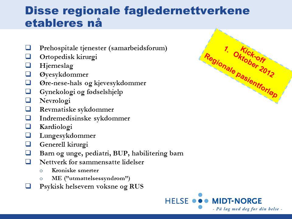 Disse regionale fagledernettverkene etableres nå  Prehospitale tjenester (samarbeidsforum)  Ortopedisk kirurgi  Hjerneslag  Øyesykdommer  Øre-nes