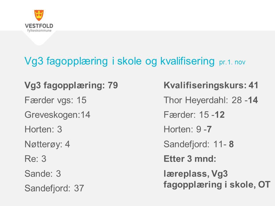 Vg3 fagopplæring: 79 Færder vgs: 15 Greveskogen:14 Horten: 3 Nøtterøy: 4 Re: 3 Sande: 3 Sandefjord: 37 Vg3 fagopplæring i skole og kvalifisering pr.1.
