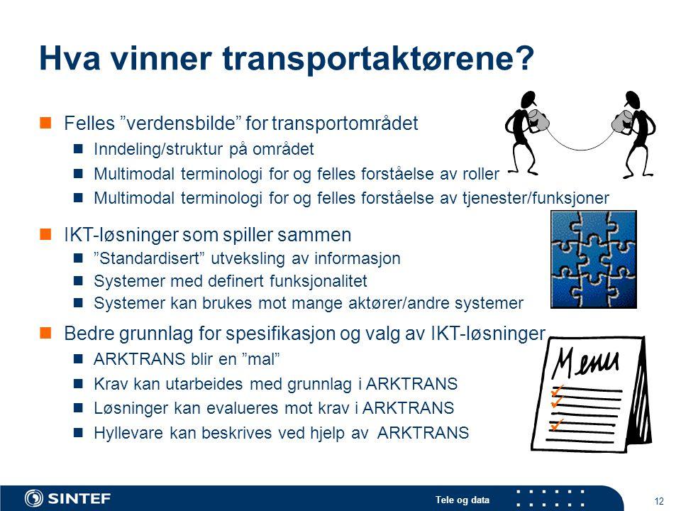 """Tele og data 12 Hva vinner transportaktørene? Felles """"verdensbilde"""" for transportområdet Inndeling/struktur på området Multimodal terminologi for og f"""