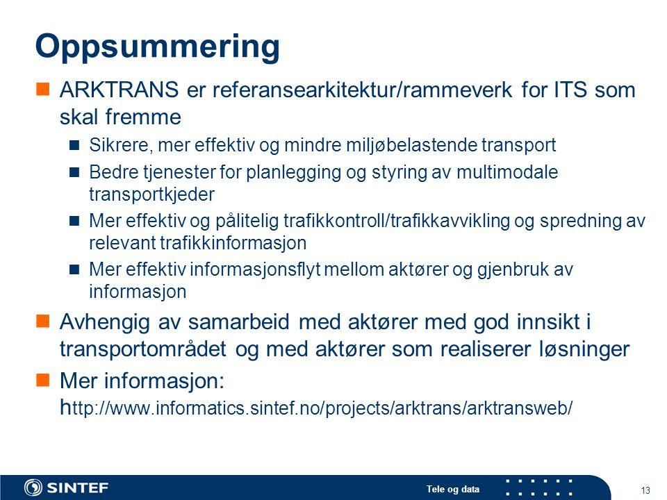Tele og data 13 Oppsummering ARKTRANS er referansearkitektur/rammeverk for ITS som skal fremme Sikrere, mer effektiv og mindre miljøbelastende transpo