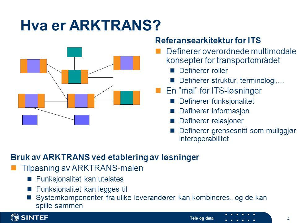 Tele og data 4 Hva er ARKTRANS? Referansearkitektur for ITS Definerer overordnede multimodale konsepter for transportområdet Definerer roller Definere