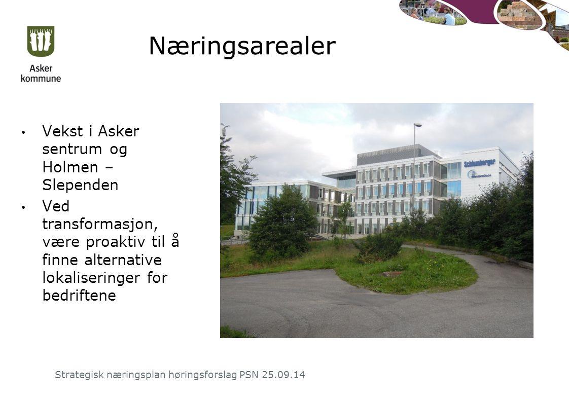 Næringsarealer Vekst i Asker sentrum og Holmen – Slependen Ved transformasjon, være proaktiv til å finne alternative lokaliseringer for bedriftene Strategisk næringsplan høringsforslag PSN 25.09.14