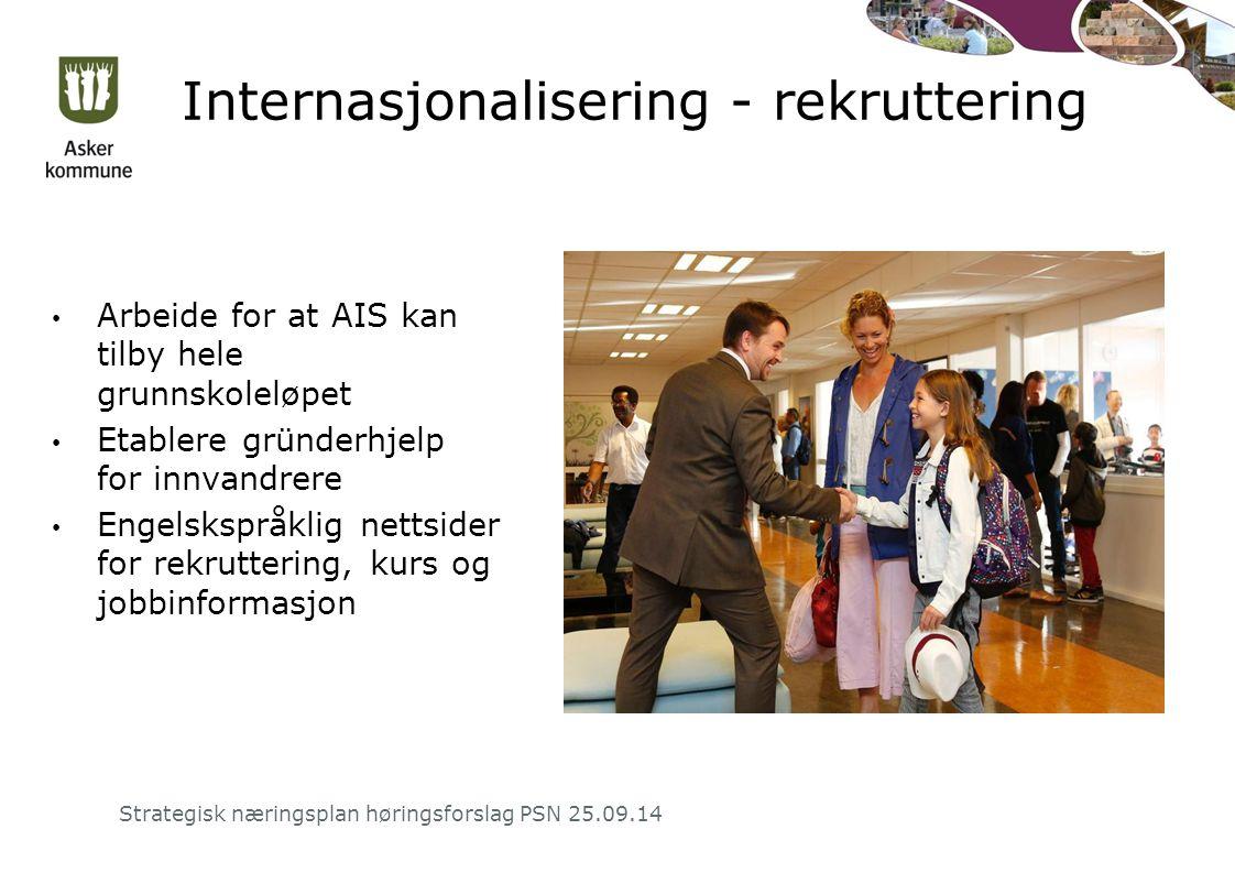 Internasjonalisering - rekruttering Arbeide for at AIS kan tilby hele grunnskoleløpet Etablere gründerhjelp for innvandrere Engelskspråklig nettsider for rekruttering, kurs og jobbinformasjon Strategisk næringsplan høringsforslag PSN 25.09.14