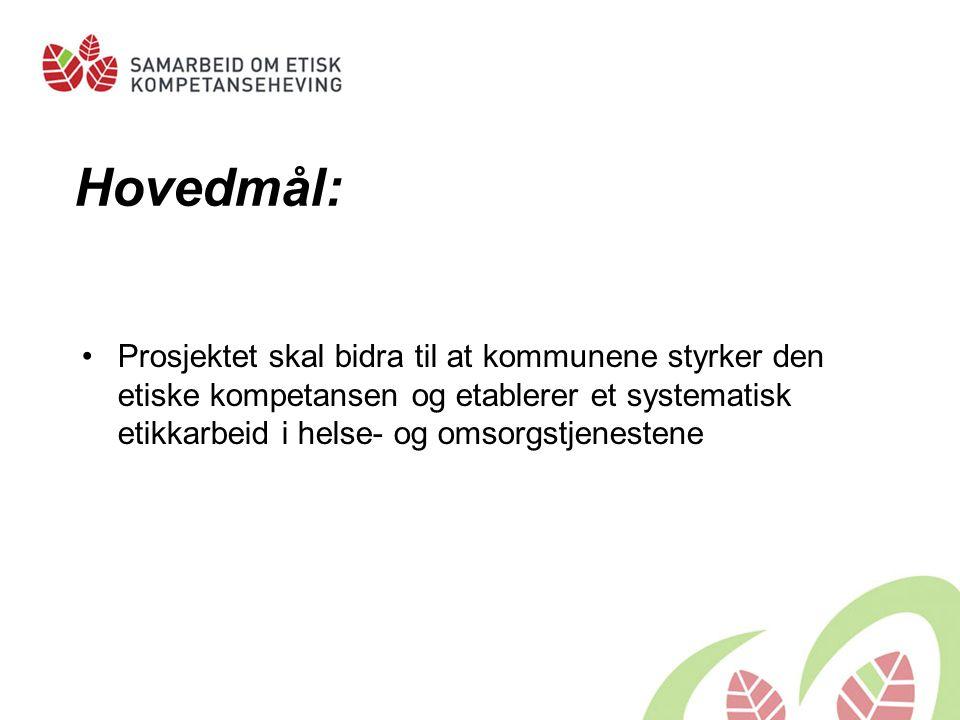 240 kommuner/ bydeler med i prosjektet VESTFOLD Larvik (R) Sandefjord (1)Tønsberg (3)Nøtterøy (3) Horten (4) Stokke (5) Tjøme (5) Re ( 7) Andebu ( 7) Svelvik ( 7)  Viktige samarbeidspartnere i etikkarbeidet:  Senter for medisinsk etikk (SME)  Utviklingssentre for sykehjem og hjemmetjenester  Fylkesmennene  Høgskoler
