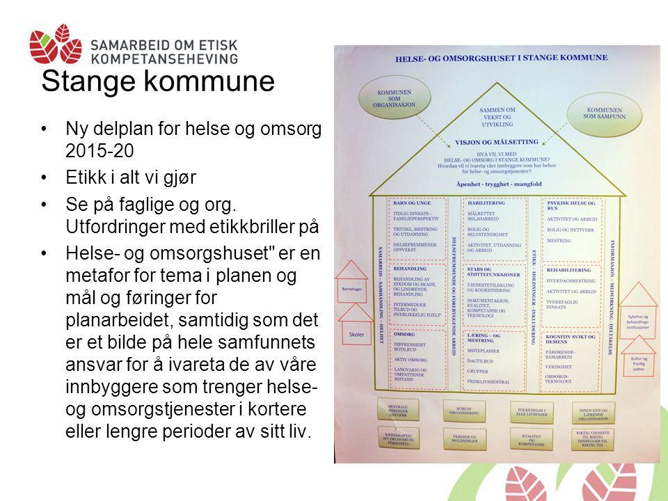 Stange kommune Ny delplan for helse og omsorg 2015-20 Etikk i alt vi gjør Se på faglige og org. Utfordringer med etikkbriller på Helse- og omsorgshuse