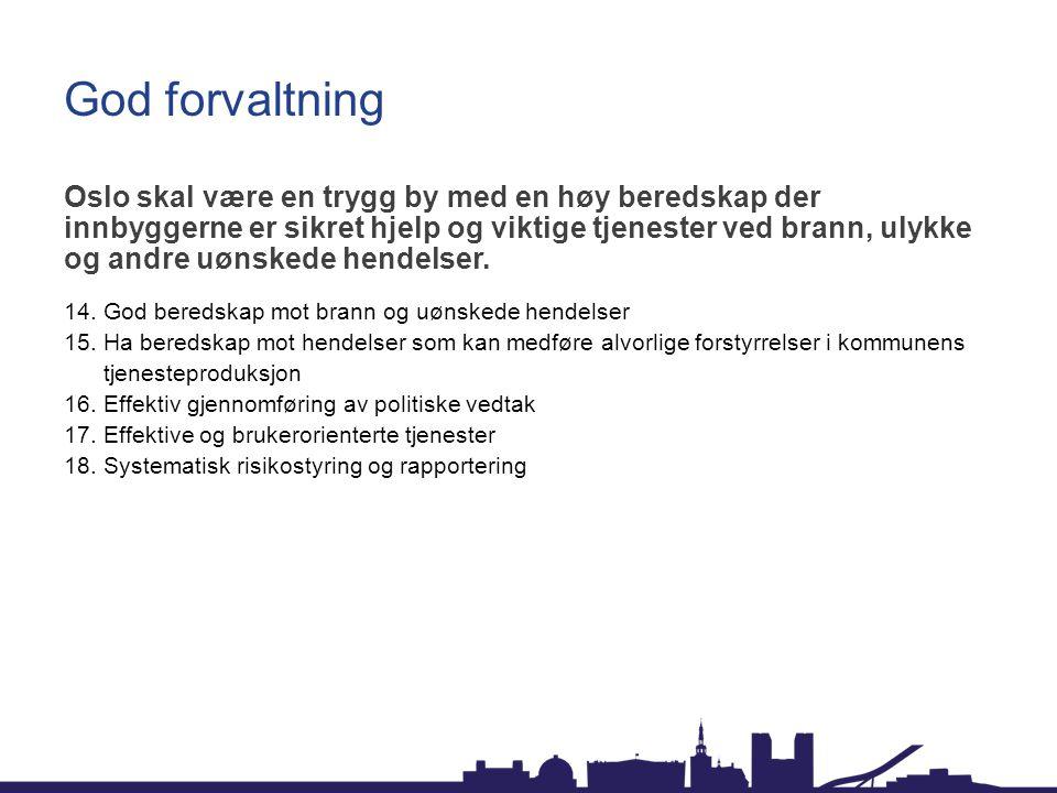 God forvaltning Oslo skal være en trygg by med en høy beredskap der innbyggerne er sikret hjelp og viktige tjenester ved brann, ulykke og andre uønske