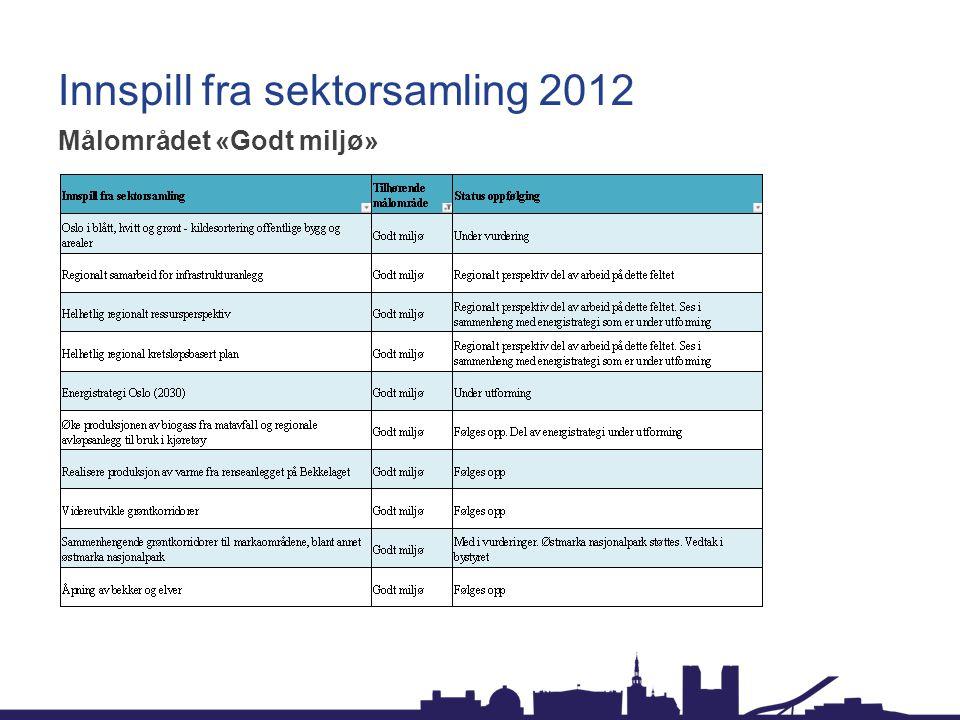 Innspill fra sektorsamling 2012 Målområdet «Godt miljø»